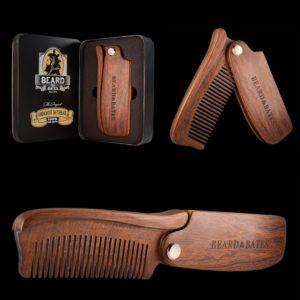 beard comb sandalwood foldable hair